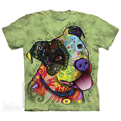 Pre. เสื้อยืดพิมพ์ลาย 3D The Mountain T-shirt : American Bulldog painted green background 3d stereoscopic