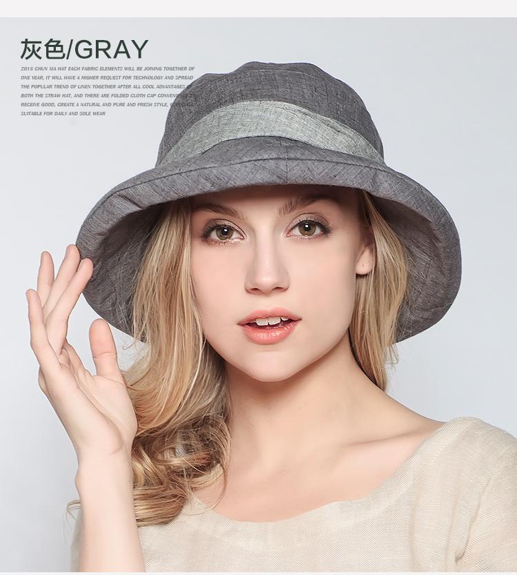 Pre-order หมวกแฟชั่น หมวกฤดูร้อน กันแดด หมวกกันแสงยูวี ผ้าลินิน สีเทา