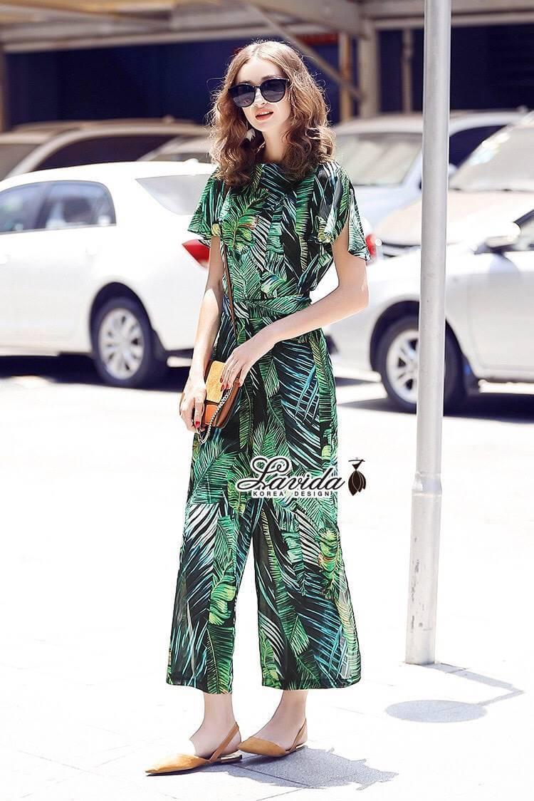 ชุดเซทแฟชั่น งานเซตเสื้อ+กางเกง ดีไซน์ผ้าพิมพ์ลายใบไม้โทนสีเขียวสวย