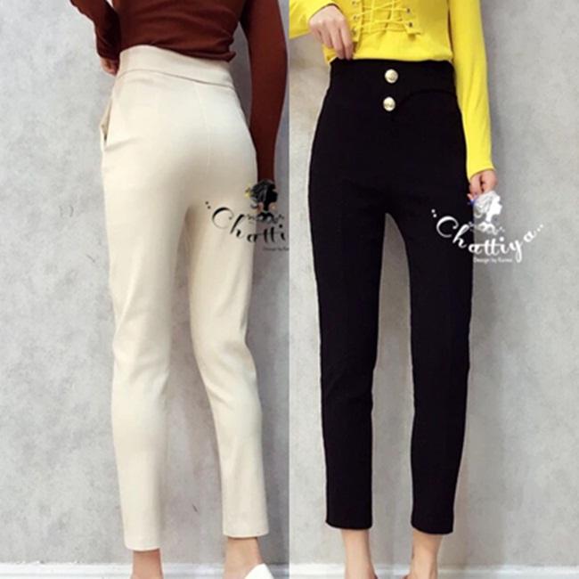 กางเกงแฟชั่น กางเกงสไตล์ Korea ผ้าสกีนนี่เอวสูงแต่งกระดุมทอง 2 เม็ด