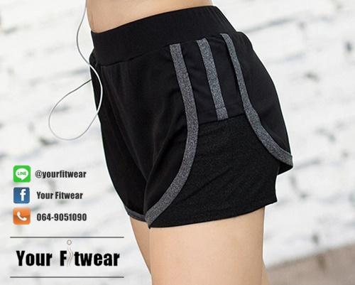 Active Short ขาสั้นสีดำ ผ้านิ่ม ใส่สบาย มีซับใน ดีไซน์สวย ระบายอากาศได้ดี เนื้อผ้าแห้งเร็ว