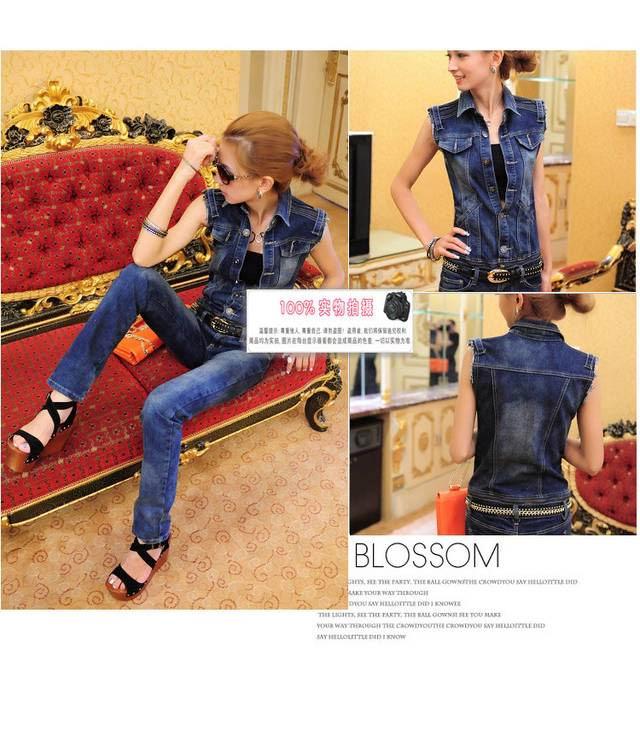 ++สินค้าพร้อมส่งค่ะ++ชุด Jumpsuit ยีนส์กางเกงขายาวเกาหลี แขนกุด คอปก ช่วงเอวตัดต่อด้วยซิบ – สี Dark Blue