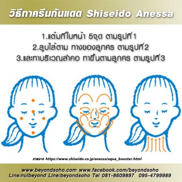 วิธีทากันแดด ชิเซโด้ แอนเนสซ่า how to use shiseido anessa aqua booster