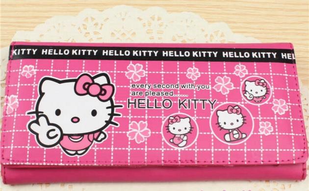 กระเป๋าสตางศ์ทรงยาวพับสามตอน ฮัลโหลคิตตี้ Hello kitty#7 ขนาด 18*8.5*1.5 cm ลายคิตตี้ยืนโบว์ชมพู