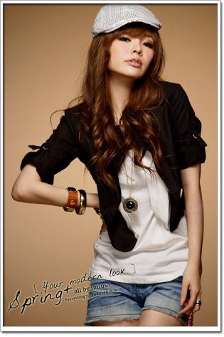 ++ สินค้าพร้อมส่งค่ะ++ สูท ตัวสั้นน่ารัก มีที่เกี่ยวแขนเสื้อ กระเป๋า 2 ข้าง - สีดำ