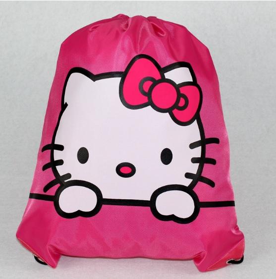 กระเป๋าถุงหูรูด ฮัลโหลคิตตี้ Hello kitty ขนาด 44 ซม. * 30 ซม. ลายคิตตี้โบว์ชมพู พื้นสีชมพู
