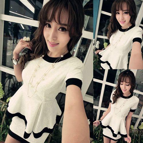 BB++สินค้าพร้อมส่งค่ะ++ชุดแฟชั่นเซ็ทเกาหลี เสื้อคอกลม แขนสั้น ผ้าเนื้อดี ชายเสื้อระบาย+กระโปรงสั้นน่ารัก – สีขาว