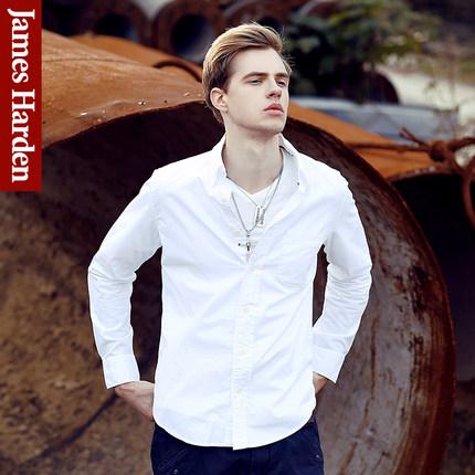 เสื้อเชิ้ตแขนยาวเกาหลี สีขาว ทรงยุโรป แต่งกระเป๋าเสื้อที่อก