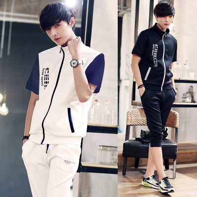 ชุดวอร์มกีฬาเกาหลี เสื้อแจ็คเก็ตแต่งซิบ+กางเกงจั้มปลายขา มี4สี