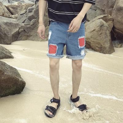 กางเกงยีนส์ขาสั้นเกาหลี สีฟ้า แต่งรอยปะเซอร์ๆ