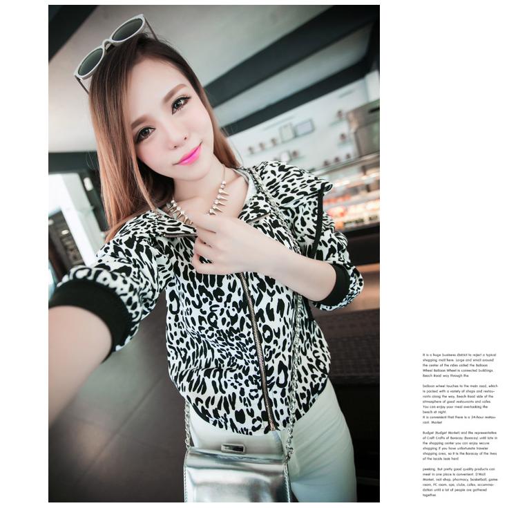 ++สินค้าพร้อมส่งค่ะ++เสื้อ jacket เกาหลี คอปกพับเก๋ แขนยาว ผ้า cotton เนื้อผสมพิมพ์ลายเก๋ ซิบหน้า คอพับมีสายผูกเก๋ – สี Leopard ขาว