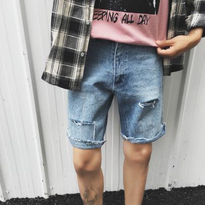 กางเกงยีนส์ขาสั้นเกาหลี แต่งรอยขาดเซอร์ๆ มี2สี