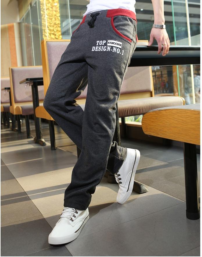 Pre Order กางเกงใส่ออกกำลังกายเทรนด์เกาหลี ขายาว แต่งแถบสี สกรีนลาย TOP มี3สี