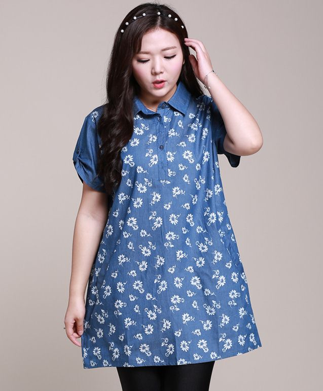 PreOrderเสื้อผ้าคนอ้วน - เสื้อยีนส์แฟชั่นตัวยาว เป็นเดรสได้ ยีนส์ลายดอก สีน้ำเงิน
