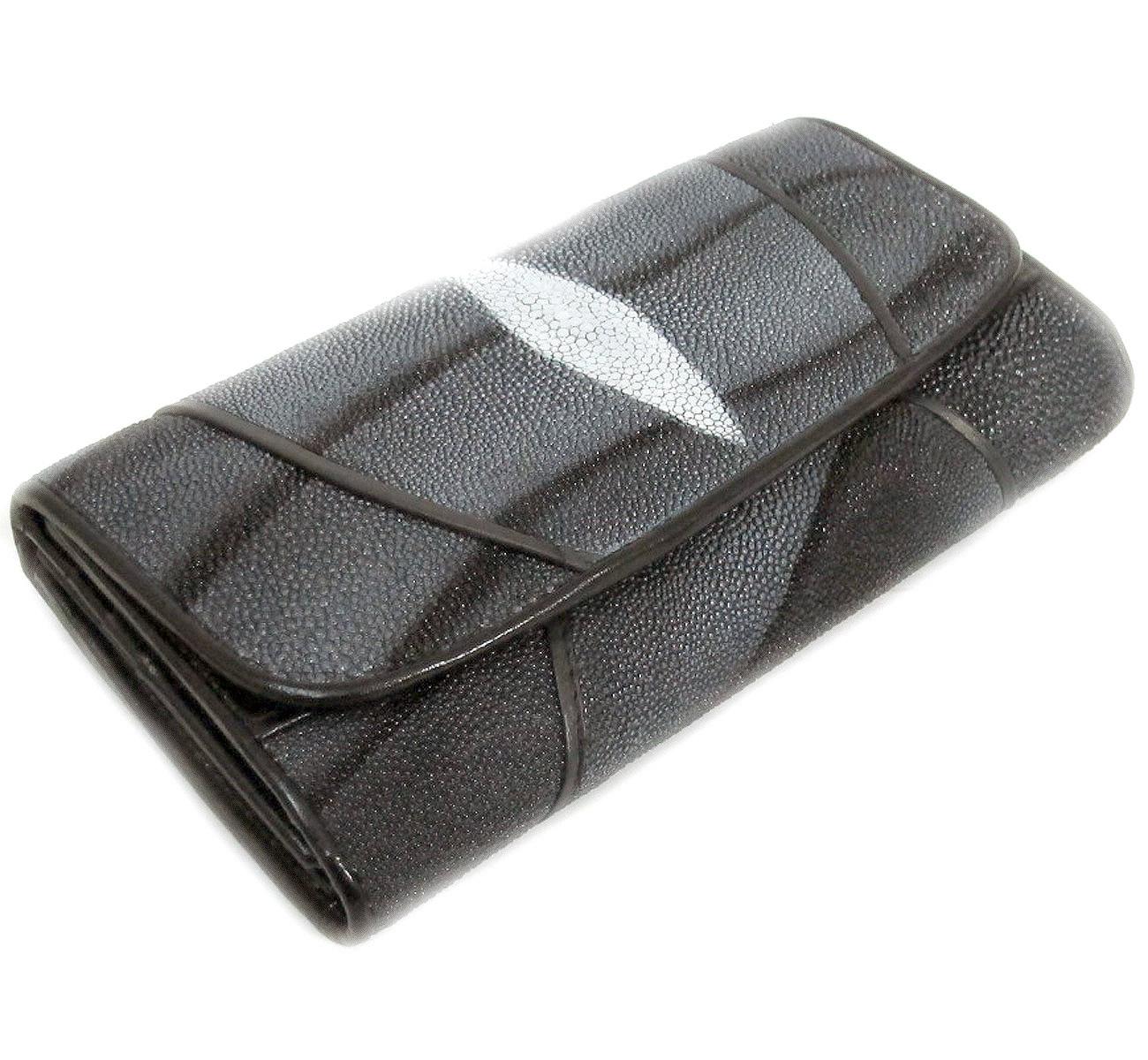 กระเป๋าสตางค์ปลากระเบน + หนังนกกระจอก แบบ 3 พับ เม็ดใหญ่ สวยงาม น่าสะดุดตาเป็นอย่างมาก