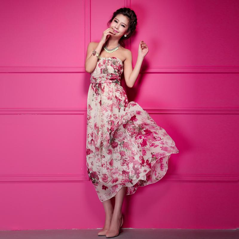 เดรสเกาหลี ชุดราตรียาว เกาะอก แฟชั่นใส่ไปงานแต่งงาน ผ้าชีฟอง พื้นสีเบจลายดอกไม้สีชมพูเขียว ใส่ออกงาน น่ารัก สวยมากๆ จ้า thaishoponline (พร้อมส่ง)