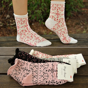 S070**พร้อมส่ง** (ปลีก+ส่ง) ถุงเท้าแฟชั่นเกาหลี ข้อยาว ขอบม้วน เนื้อดี งานนำเข้า(Made in china)