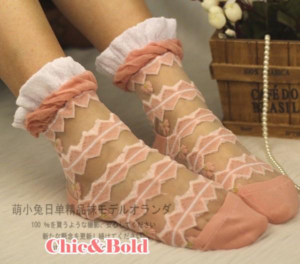 ถุงเท้าซีทรู ขอบระบาย สีชมพู
