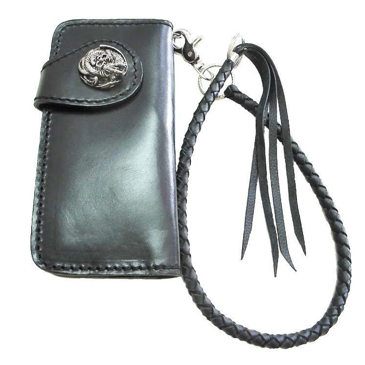 กระเป๋า ทรงยาว สีดำ สไตล์คาวบอย หนังแท้ทั้งภายนอกและภายใน สุดเท่ห์สุดประมาณ พร้อมเชือกหนัง ยาว 18 นิ้ว ไว้ค้องกับหูกางเกง