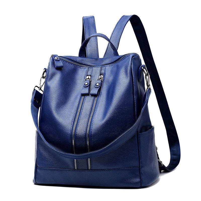 พร้อมส่ง กระเป๋าเป้สะพายหลัง และปรับสะพายข้างผู้หญิง เป้นักเรียนแฟชั่นเกาหลี รหัส KO-558 สีน้ำเงิน 2 ใบ