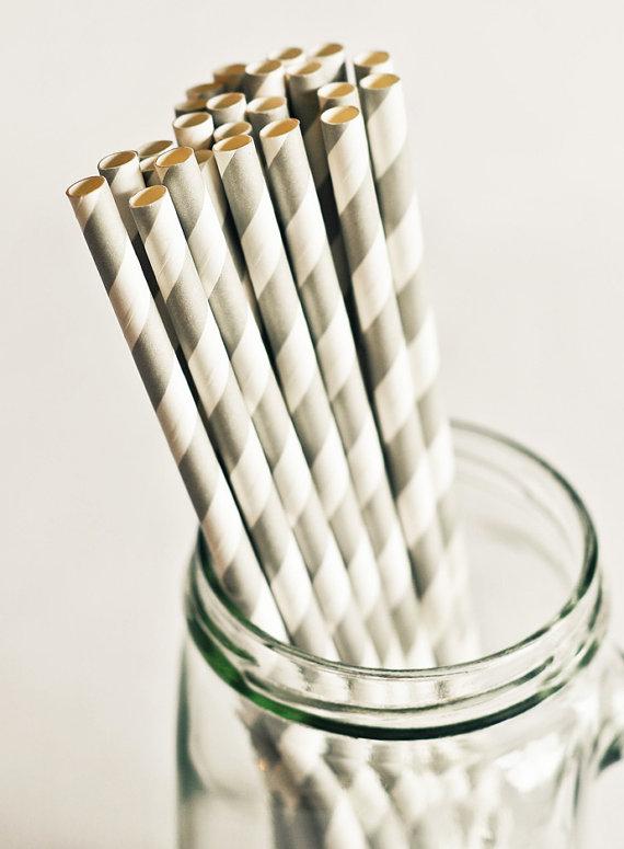 Paper Straws in Gray Stripes