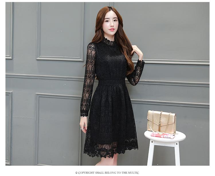 ชุดเดรสสีดำน่ารัก เดรสผ้าลูกไม้เนื้อดี แขนยาว สีดำ