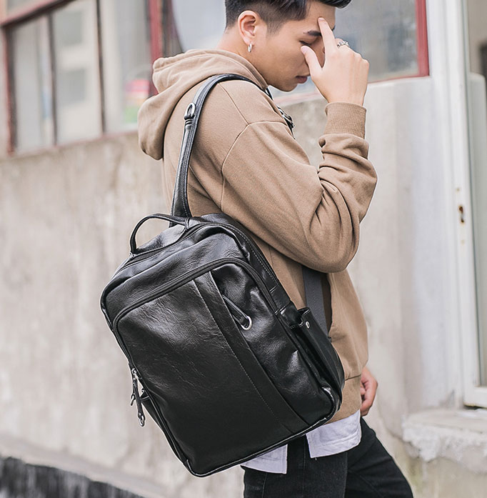 Pre-order กระเป๋าเป้สะพายหลัง เป้นักเรียนผู้ชาย เป้หนัง เป้เดินทาง แฟชั่นเกาหลี รหัส Man-6530 สีดำ