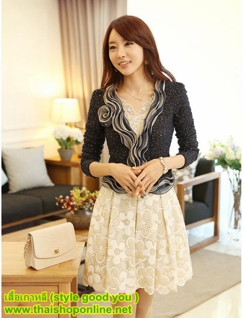 เสื้อเกาหลี style good you เสื้อคลุมผ้า เนื้อผสมสีดำ แขนยาวแต่งผ้าซีฟองที่ขอบวนดอกกุหลาบ สวยเหมือนแบบ100% ครับ พร้อมส่ง
