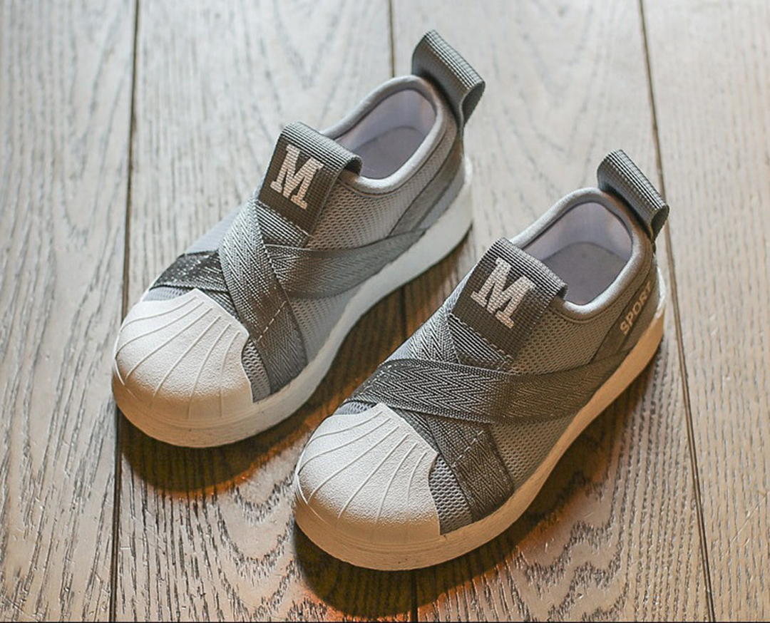 #รองเท้าMหัวยางลายหอยแถบไขว้ สีเทา