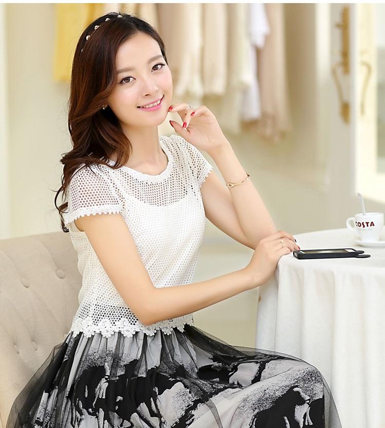 ชุดเดรสแฟชั่น Set 2 ชิ้น เสื้อ + เดรสยาว ตัวเสื้อผ้าตาข่ายสีขาว ตัวเดรสผ้าซีฟอง เอวจั๊ม สวยมากๆ