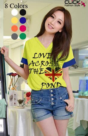 เสื้อยืดแฟชั่น คอวี แขนเบิ้ล ลาย Loved Across สีเหลือง (Size M : 34 นิ้ว)