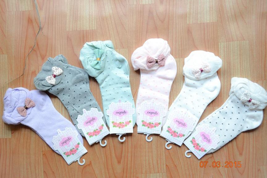 S366**พร้อมส่ง** (ปลีก+ส่ง) ถุงเท้าแฟชั่นเกาหลี พับข้อ แต่งขอบระบาย ประดับโบว์ เนื้อดี งานนำเข้า(Made in china)