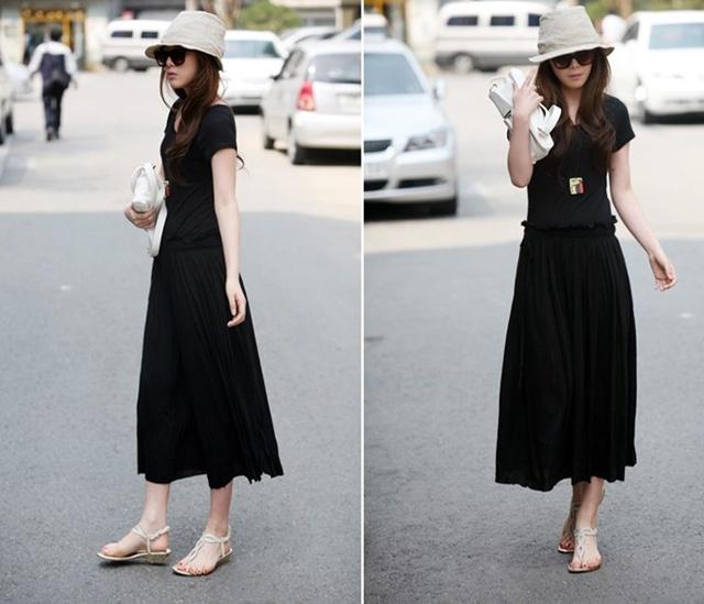 MAXI DRESS ชุดเดรสยาวราคาถูก แฟชั่นเกาหลี ผ้า COTTON มีสายผูกเย็บติดในตัว สีดำ ใส่ทำงาน เที่ยว น่ารักมากๆ ครับ thaishoponline (พร้อมส่ง)