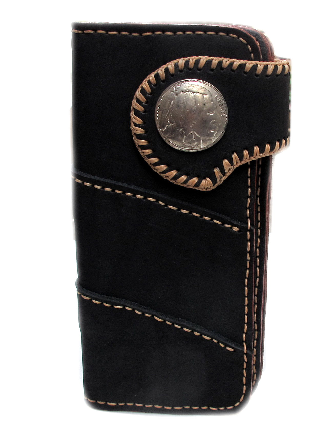 กระเป๋าสตางค์แฟชั่น หนังแท้ สุดเทห์ มีหูปิดประดับด้วยกระดุมสีเงิน สำหรับบุรุษและสตรี