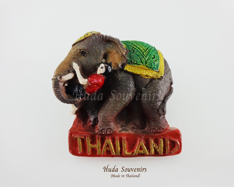 ของที่ระลึกไทย แม่เหล็กติดตู้เย็น ลวดลายช้างเล่นกับควานช้าง
