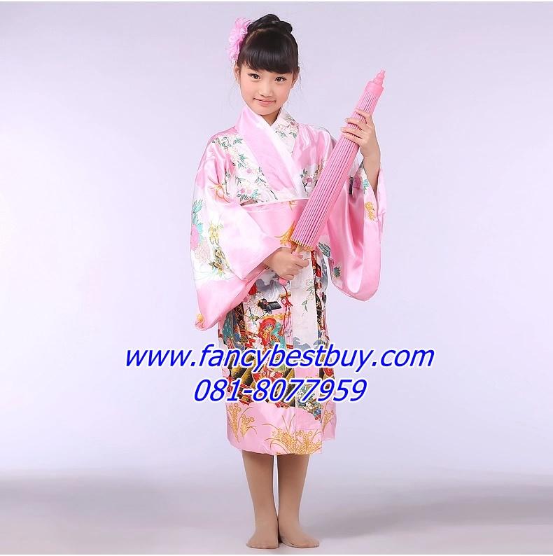 ชุดประจำชาติญี่ปุ่น ชุดกิโมโนเด็กหญิง สีชมพู ขนาด 110, 120, 130, 140 (ไม้ดอกไม้ประดับหัวและร่ม)