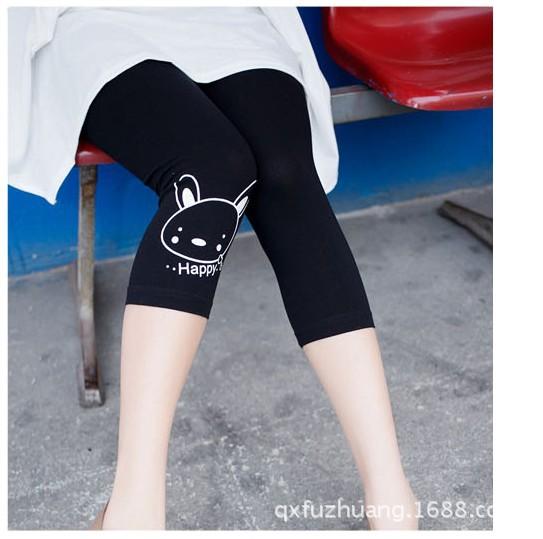 กางเกงพยุงหน้าท้อง กางเกงเลกกิ้งขา 5 ส่วน สีดำลายลายกระต่าย น่ารักค่ะ