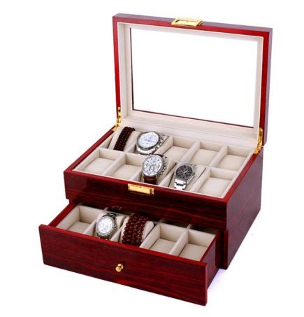 กล่องไม้ใส่นาฬิกา 2 ชั้น 20 เรือน บุกำมะหยี่เนื้อนิ่ม (พรีออเดอร์)