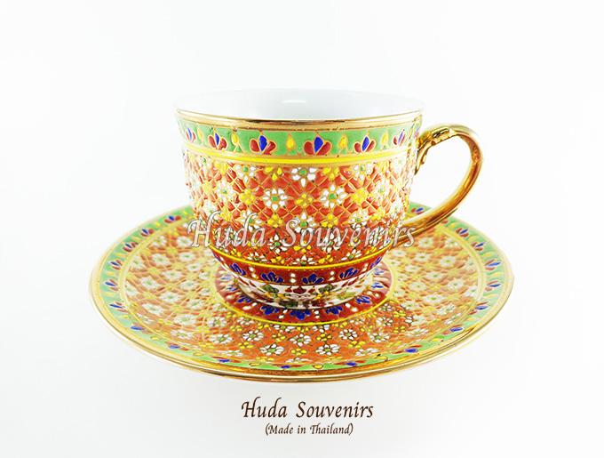 ของที่ระลึก แก้วกาแฟเบญจรงค์ ทรงกลม ลวดลายโทนสีส้ม ลายเนื้อนูนเคลือบผิวเงา สินค้าพร้อมส่ง (ราคาไม่รวมกล่อง)