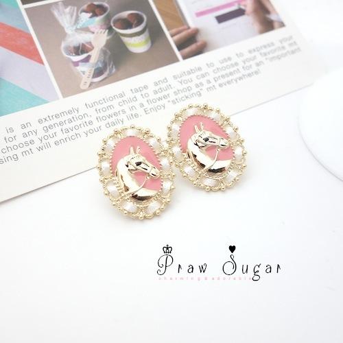 Pink horse golden Earrings