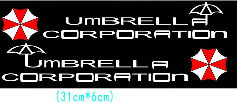สติ๊กเกอร์ Umbrella Corporation ตัวอักษรขาว (31x6 CM) แพ็คคู่