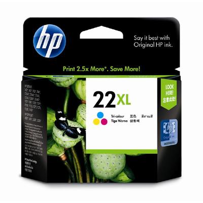 HP 22XL ตลับหมึกอิงค์เจ็ท 3สี High Yield Tri-color Original Ink Cartridge (C9352CA)