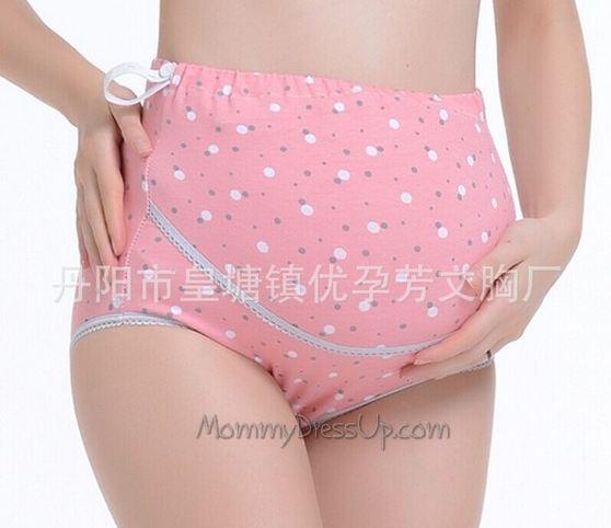 กางเกงในพยุงหน้าท้อง สีพื้นชมพูลายจุดๆ เอวปรับสายได้ size L / XL จร้า