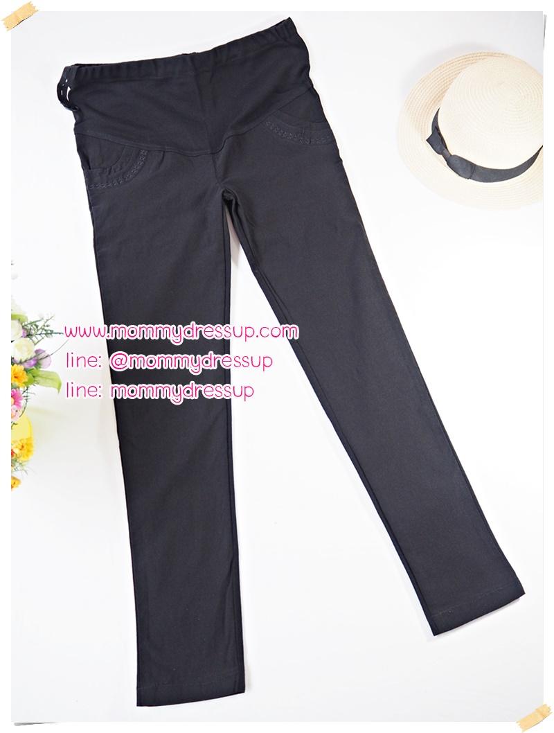 กางเกงขายาวทำงานสีดำขาเดฟ แต่งลาย XXX ที่กระเป๋าหน้า เอวปรับระดับได้