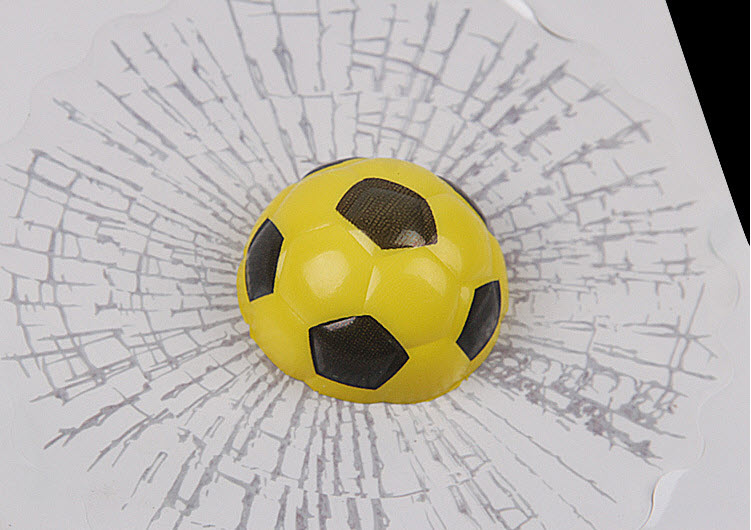 สติ๊กเกอร์ 3D ลูกฟุตบอลเหลืองปากระจกแตก