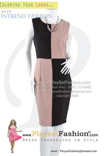 hd1818 - ชุดเดรสแขนกุด ผ้าเกรด AAAA ด้านหน้าดีไซน์ผ้าสลับสีเนื้อ-ดำ (ด้านหลังดำพื้น)ซับในช่วงกระโปรง ซิบซ่อนด้านหลัง งานสวยมากๆเลยค่ะ