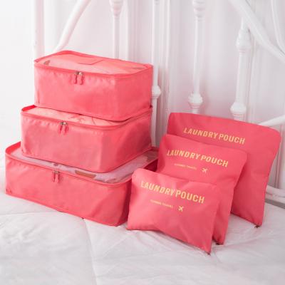 (สีแดงแตงโม) กระเป๋าจัดระเบียบ 1 Set มี 6 ใบ