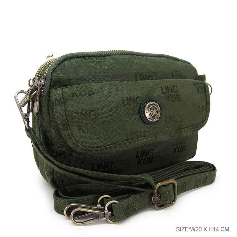 กระเป๋าสะพายยาว + คล้องมือ เนื้อผ้าทอ kipling