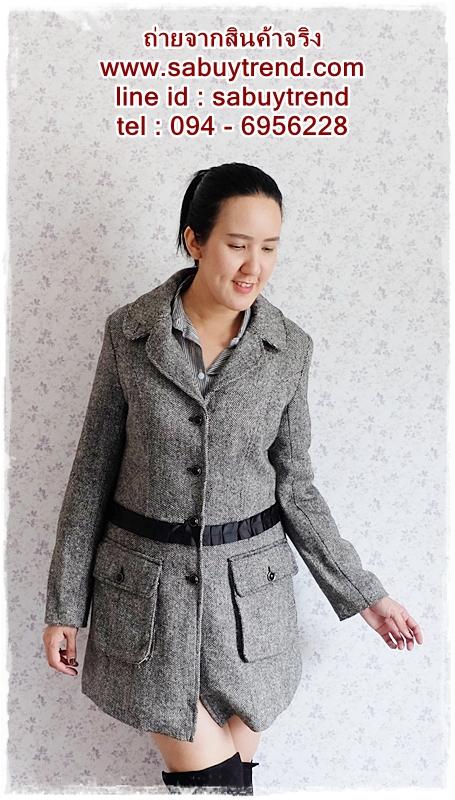 ((ขายแล้วครับ))((คุณอารีย์จองครับ))ca-2716 เสื้อโค้ทกันหนาวผ้าถักลายดำเทา รอบอก38