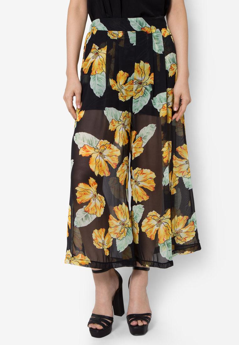 กางเกงขายาว Floral See Through Wild Legs